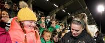 Jamie Finn meeting fans after the Ireland-Sweden game.