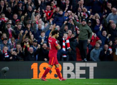 Mo Salah celebrating a recent Liverpool goal.