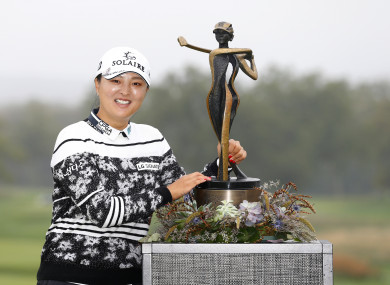 Jin Young Ko of South Korea with the trophy.