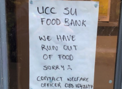UCC Students' Union food bank ran out of food in 50 minutes on Wednesday.